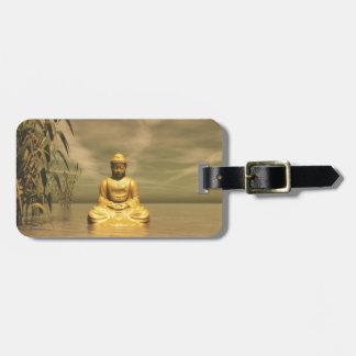 Zen buddha meditating bag tag