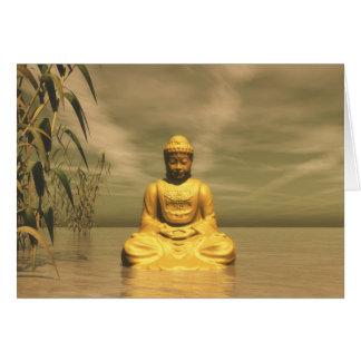 Zen buddha meditating card