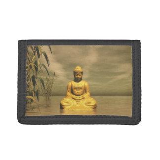 Zen buddha meditating trifold wallets