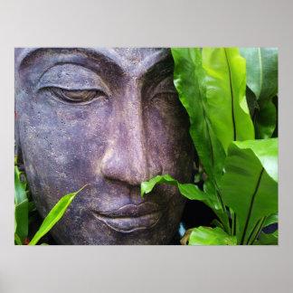 Zen Buddha Serenity Garden Green Leaves Poster