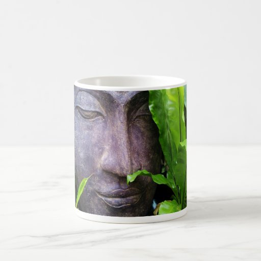 Zen Buddha Stone Serenity Green Garden Leaves Mugs