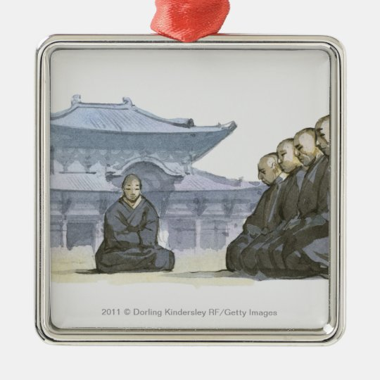 Zen Buddhist monks kneeling outside temple Metal Ornament