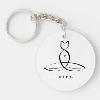 Zen Cat - Fancy style text. Keychain
