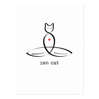 Zen Cat - Fancy style text. Postcard