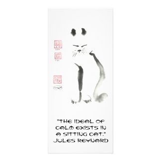 Zen Cat & Mad Dash, Sumi-e Rack Card