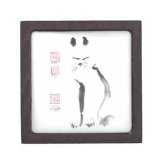 Zen Cat Meditation -  Sumi-e [ink painting] Keepsake Box