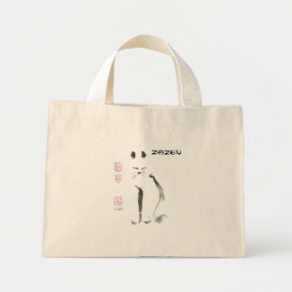 Zen Cat Meditation -  Sumi-e [ink painting] Mini Tote Bag