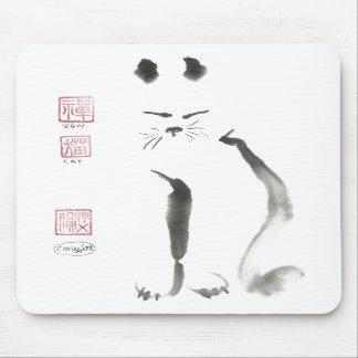 Zen Cat Meditation - Sumi-e ink painting Mousepad