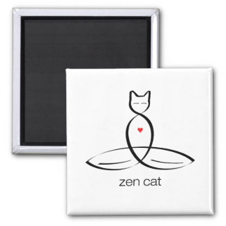 Zen Cat - Regular style text. 2 Inch Square Magnet