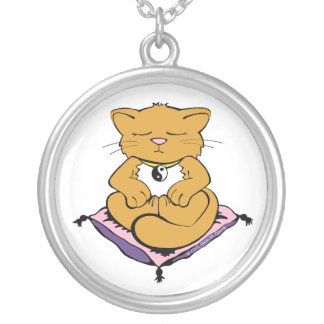 Zen Cat Silver Plated Necklace