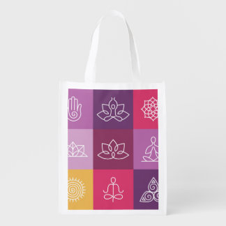 zen, chakra, yoga, paz, ohmio, tranquilty, loto, bolsas para la compra