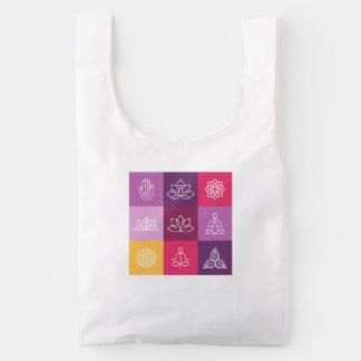 zen, chakra, yoga, paz, ohmio, tranquilty, loto, bolsa reutilizable