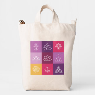 zen, chakra, yoga, paz, ohmio, tranquilty, loto, bolsa de lona duck