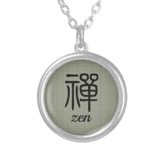 Zen Chinese calligraphy olive green Silver Plated Necklace