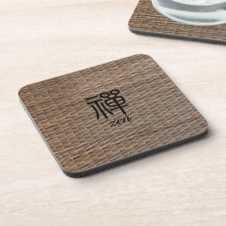 Zen Chinese calligraphy on tatami Drink Coaster