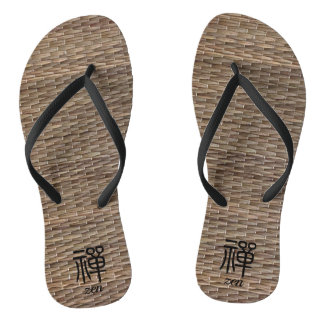Zen Chinese calligraphy on tatami Flip Flops