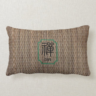 Zen Chinese calligraphy on tatami Lumbar Pillow