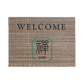 Zen Chinese calligraphy on tatami personalized Doormat