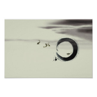 Zen Circle Enso Koi Brush Painting Art Poster