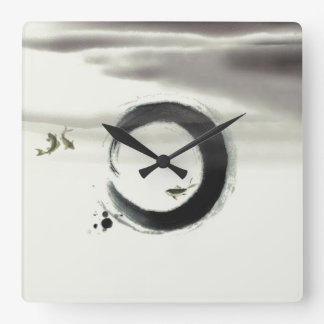 Zen Circle Enso Koi Brush Painting Art Square Wall Clock