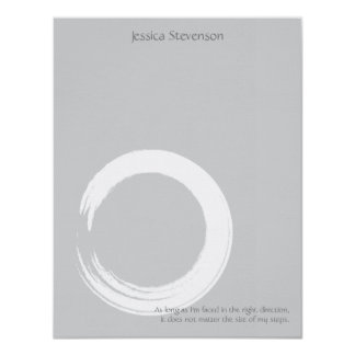 Zen Circle Flat Note Card (grey)