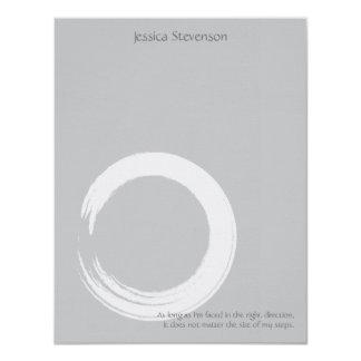 Zen Circle Flat Note Card (grey) Custom Invitations