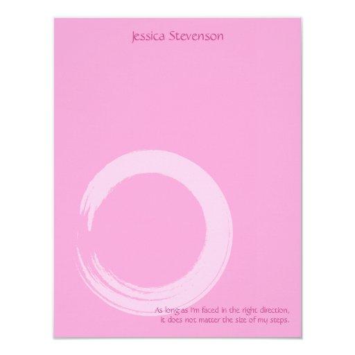 Zen Circle Flat Note Card (pink)