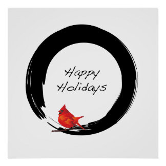 Zen Circle with Christmas Cardinal Poster