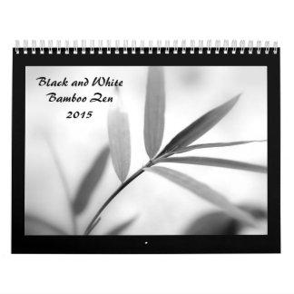 Zen de bambú blanco y negro 2015 calendarios de pared