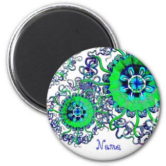 Zen de la yoga del arte abstracto de las medusas d imán redondo 5 cm