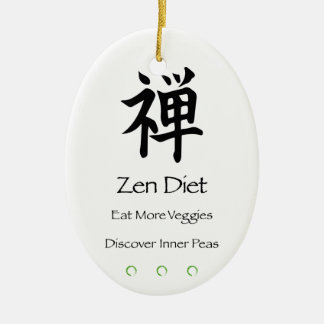 Zen Diet – Eat More Veggies – Discover Inner Peas Ceramic Ornament