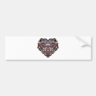 Zen Doodle Abstract Heart Shaped Red White Black Bumper Sticker