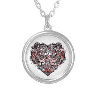 Zen Doodle Abstract Heart Shaped Red White Black Round Pendant Necklace