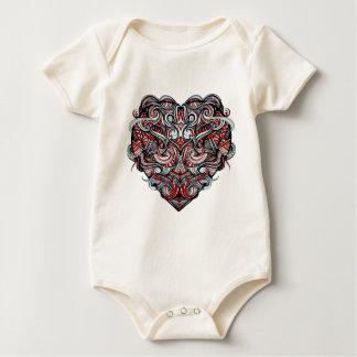 Zen Doodle Heart Shape Red, White, Black Abstract Baby Bodysuit