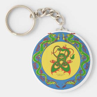 zen dragon ring basic round button keychain