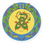 zen dragon ring classic round sticker