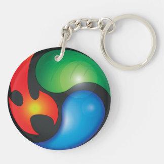 Zen Elements Yin Yan Symbol Double-Sided Round Acrylic Keychain