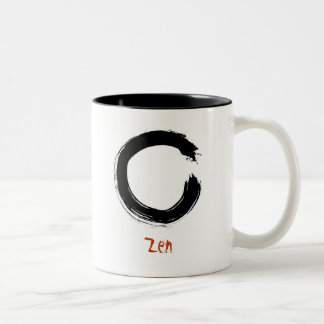 Zen Enso (Zen circle) brush painting Two-Tone Coffee Mug