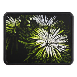 Zen floral Lime green white Chrysanthemum Trailer Hitch Cover