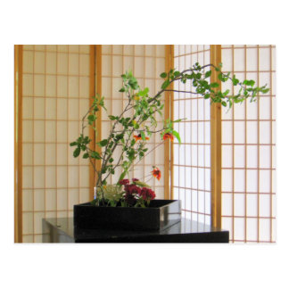 zen flower arrangement postcard