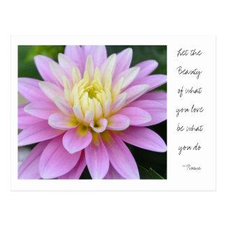 Zen Flower- Dahlia Postcard Rumi Quote