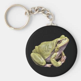 Zen Frog Cute Green Meditation Treefrog Black Keychain