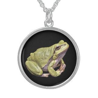 Zen Frog Cute Green Treefrog Black Sterling Silver Necklace