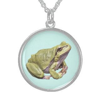 Zen Frog Cute Light Green Treefrog Meditation Pose Sterling Silver Necklace
