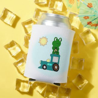 Zen Frog on a Train  Can Cooler