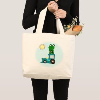 Zen Frog on a Train  Large Tote Bag