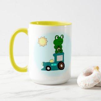 Zen Frog on a Train Mug