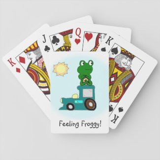 Zen Frog on a Train Playing Cards