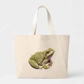 Zen Frog Pale Green Cute Treefrog Meditation Pose Large Tote Bag