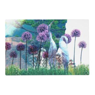 Zen Garden Birds w Purple Allium Asian Inspired Placemat
